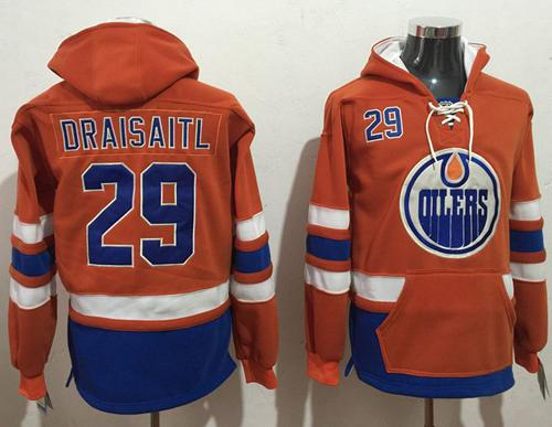 Oilers #29 Leon Draisaitl Orange Name & Number Pullover NHL Hoodie
