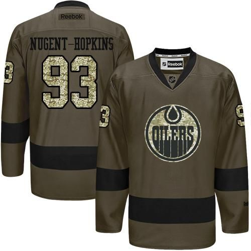Oilers #93 Ryan Nugent-Hopkins Green Salute to Service Stitched NHL Jersey