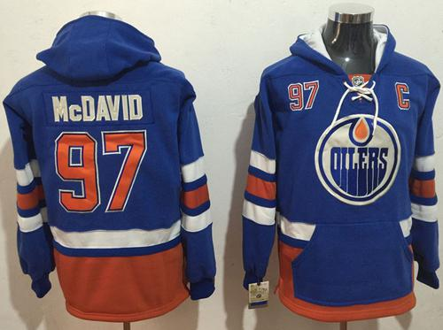 Oilers #97 Connor McDavid Light Blue Name & Number Pullover NHL Hoodie
