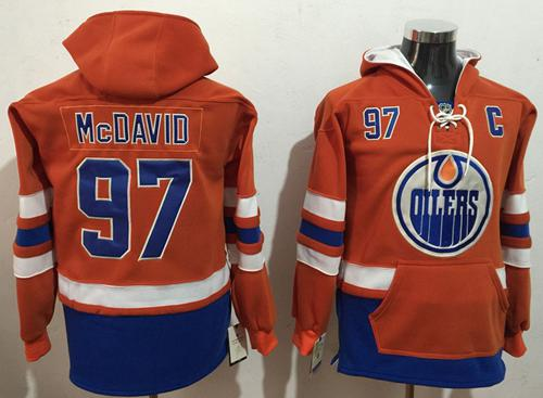 Oilers #97 Connor McDavid Orange Name & Number Pullover NHL Hoodie