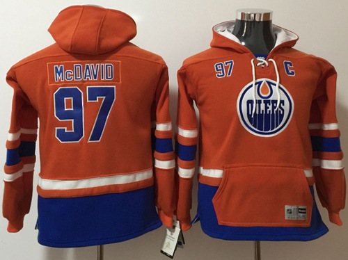 Oilers #97 Connor McDavid Orange Youth Name & Number Pullover NHL Hoodie