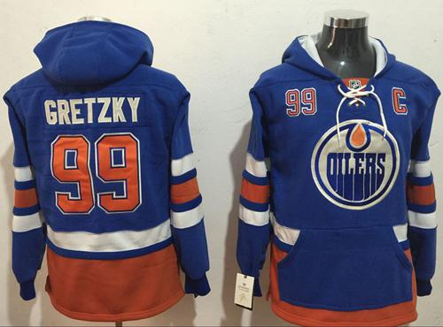 Oilers #99 Wayne Gretzky Light Blue Name & Number Pullover NHL Hoodie