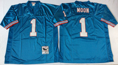 Oilers 1 Warren Moon Blue Throwback Jersey