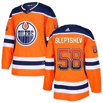 Oilers 58 Anton Slepyshev Orange Drift Fashion Adidas Jersey
