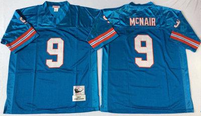 Oilers 9 Steve McNair Blue Throwback Jersey