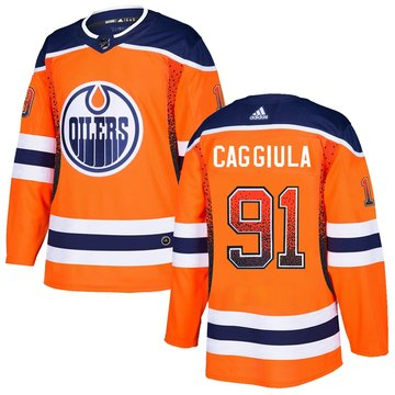 Oilers 91 Drake Caggiula Orange Drift Fashion Adidas Jersey