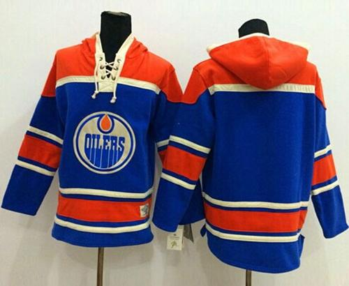 Oilers Blank Light Blue Sawyer Hooded Sweatshirt Stitched NHL Jersey