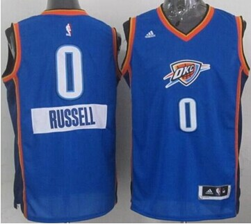 Oklahoma City Thunder #0 Russell Westbrook Blue 2014-15 Christmas Day Stitched NBA Jersey