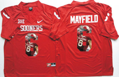 Oklahoma Sooners 14 Baker Mayfield All Red Portrait Number College Jersey
