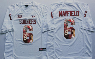 Oklahoma Sooners 14 Baker Mayfield All White Portrait Number College Jersey