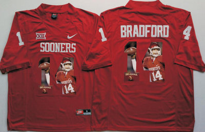 Oklahoma Sooners 14 Sam Bradford All Red Portrait Number College Jersey