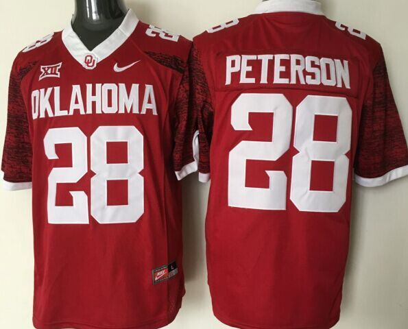 Oklahoma Sooners 28 Adrian Peterson Red College Football Jersey