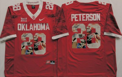 Oklahoma Sooners 28 Adrian Peterson Red Portrait Number College Jersey