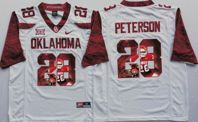 Oklahoma Sooners 28 Adrian Peterson White Portrait Number College Jersey