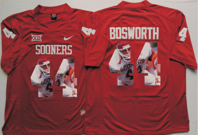 Oklahoma Sooners 44 Brian Bosworth All Red Portrait Number College Jersey