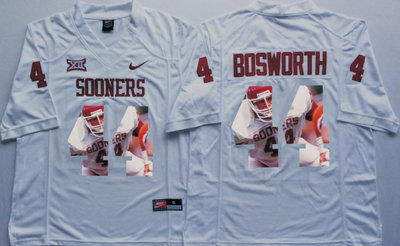 Oklahoma Sooners 44 Brian Bosworth All White Portrait Number College Jersey