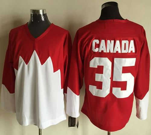 Olympic CA. #35 Canada Red White 1972 Commemorative CCM Stitched NHL Jersey
