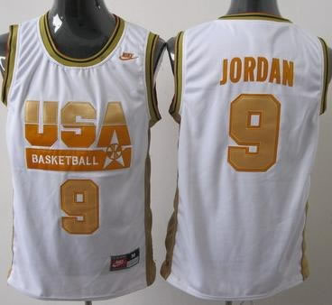 Olympic USA 9 Jordan White Basketball Jersey Yellow Number