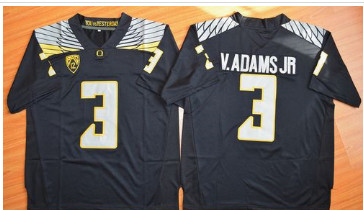 Oregon Ducks #3 Vernon Adams Jr. Olive Black(White No.) Stitched NCAA Jersey