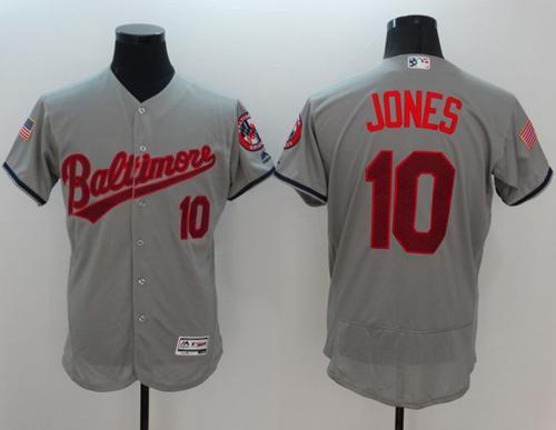 Orioles #10 Adam Jones Grey Fashion Stars & Stripes Flexbase Authentic Stitched MLB Jersey