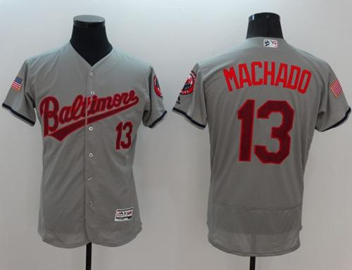 Orioles #13 Manny Machado Grey Fashion Stars & Stripes Flexbase Authentic Stitched MLB Jersey