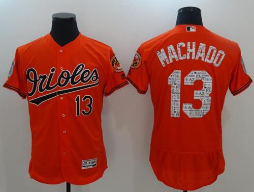 Orioles #13 Manny Machado Orange 2017 Spring Training Authentic Flex Base Stitched MLB Jersey