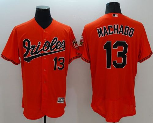 Orioles #13 Manny Machado Orange Flexbase Authentic Collection Stitched MLB Jersey