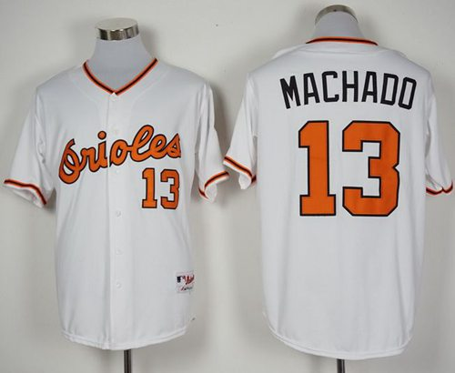 Orioles #13 Manny Machado White 1966 Turn Back The Clock Stitched MLB Jersey