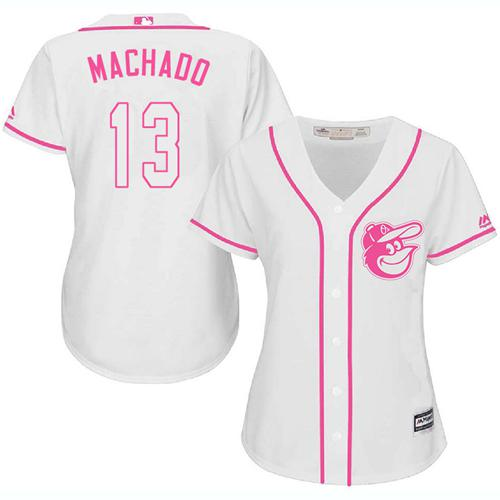 Orioles #13 Manny Machado White Pink Fashion Women's Stitched MLB Jersey