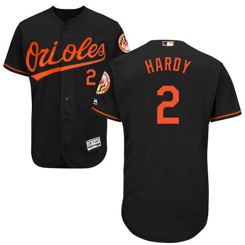 Orioles #2 J.J. Hardy Black Flexbase Authentic Collection Stitched MLB Jersey