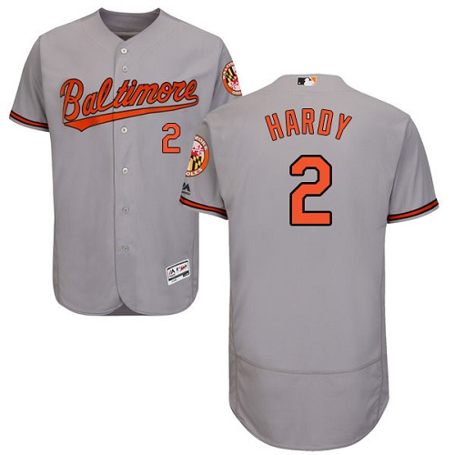 Orioles #2 J.J. Hardy Grey Flexbase Authentic Collection Stitched MLB Jersey