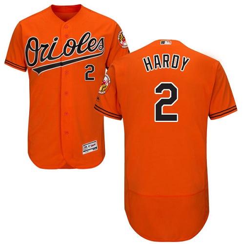 Orioles #2 J.J. Hardy Orange Flexbase Authentic Collection Stitched MLB Jersey