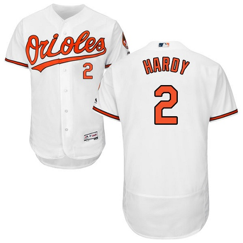 Orioles #2 J.J. Hardy White Flexbase Authentic Collection Stitched MLB Jersey