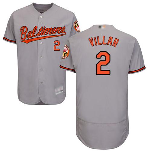 Orioles #2 Jonathan Villar Grey Flexbase Authentic Collection Stitched Baseball Jersey