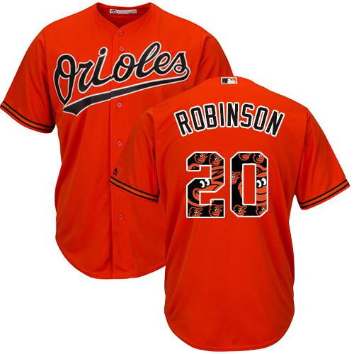 Orioles #20 Frank Robinson Orange Team Logo Fashion Stitched MLB Jersey