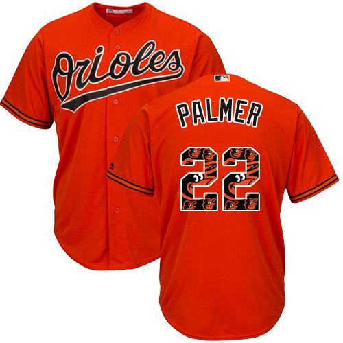 Orioles #22 Jim Palmer Orange Team Logo Fashion Stitched MLB Jersey