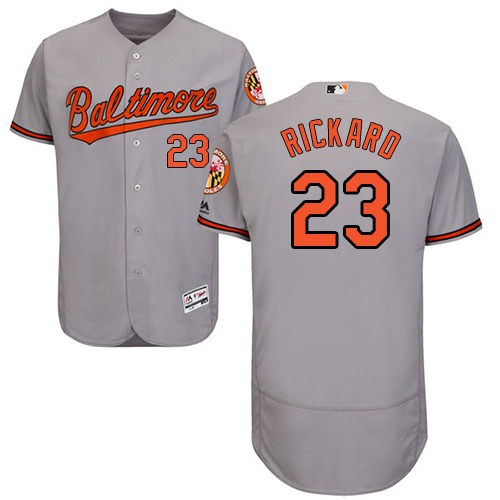 Orioles #23 Joey Rickard Grey Flexbase Authentic Collection Stitched MLB Jersey