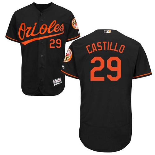 Orioles #29 Welington Castillo Black Flexbase Authentic Collection Stitched MLB Jersey
