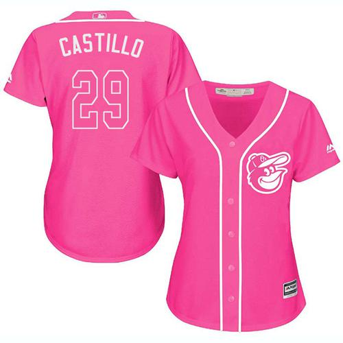 Orioles #29 Welington Castillo Pink Fashion Women's Stitched MLB Jersey