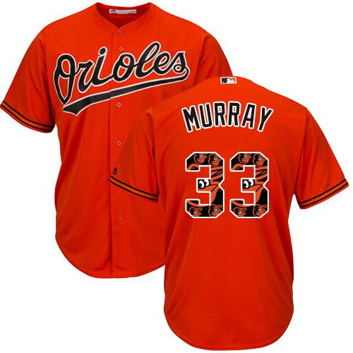 Orioles #33 Eddie Murray Orange Team Logo Fashion Stitched MLB Jersey