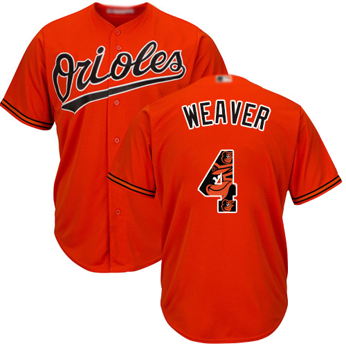 Orioles #4 Earl Weaver Orange Team Logo Fashion Stitched Baseball Jersey