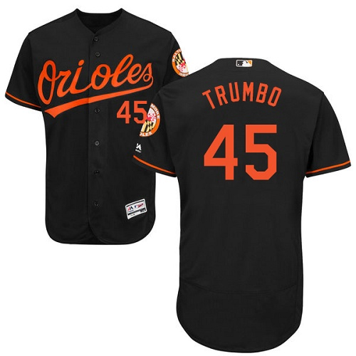 Orioles #45 Mark Trumbo Black Flexbase Authentic Collection Stitched MLB Jersey