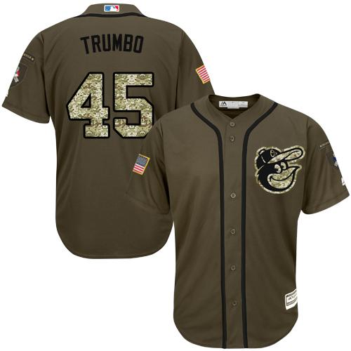 Orioles #45 Mark Trumbo Green Salute to Service Stitched MLB Jersey