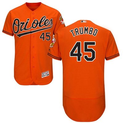 Orioles #45 Mark Trumbo Orange Flexbase Authentic Collection Stitched MLB Jersey