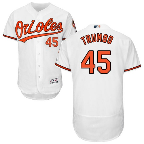 Orioles #45 Mark Trumbo White Flexbase Authentic Collection Stitched MLB Jersey