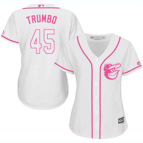 Orioles #45 Mark Trumbo White Pink Fashion Women's Stitched MLB Jersey