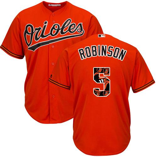 Orioles #5 Brooks Robinson Orange Team Logo Fashion Stitched MLB Jersey