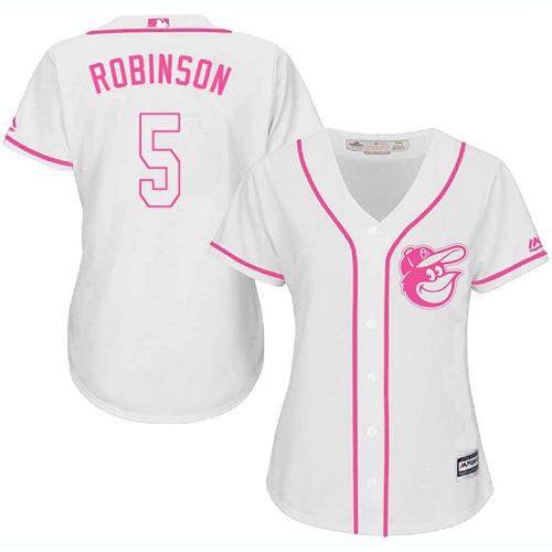 Orioles #5 Brooks Robinson White Pink Fashion Women's Stitched MLB Jersey