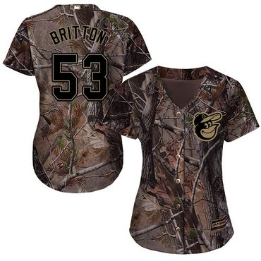 Orioles #53 Zach Britton Camo Realtree Collection Cool Base Women's Stitched Baseball Jersey