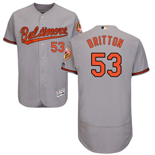 Orioles #53 Zach Britton Grey Flexbase Authentic Collection Stitched MLB Jersey